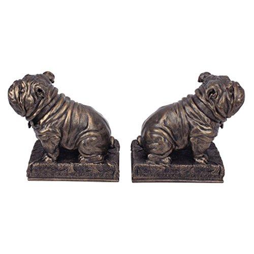Design Toscano British Decor Bulldog Mascot Bookend Statues, 6 Inch, Set of Two, Bronze Finish -