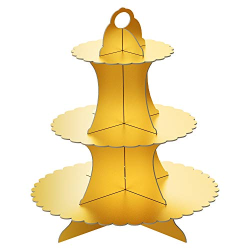 FLYOME 3-Tier Gold Cupcake Stand Holder, Cardboard, Universal for Weddings, Graduations, Birthday Parties, Gold]()