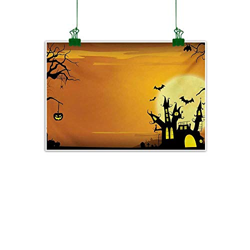 Unpremoon Halloween,Canvas Painting Gothic Haunted House Bats Western Spooky Night Scene with Pumpkin Drawing Art Wall Decor for Home Office Decorations Orange Black W 40