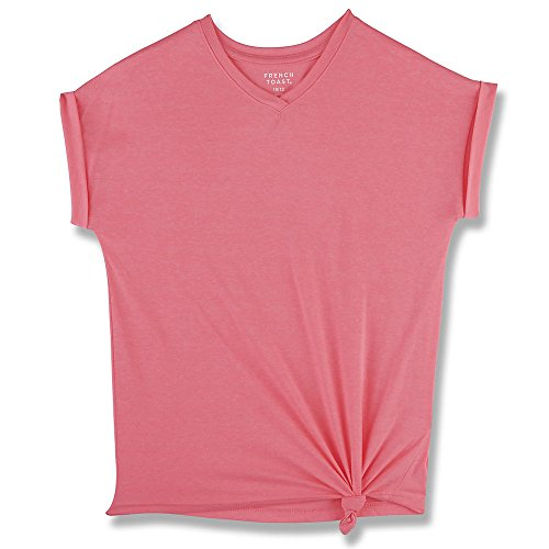 French Toast Big Girls' Short Sleeve V-Neck Side Knot Tee, Electric Pink, 7/8 (Girls Top)