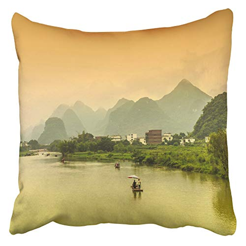 Emvency Decorative Throw Pillow Covers Cases Blue Asia Guilin Yangshuo Beautiful Scenery of Mountains and Rivers Green Asian Bamboo China City 18x18 Inches Pillowcases Case Cover Cushion Two Sided -