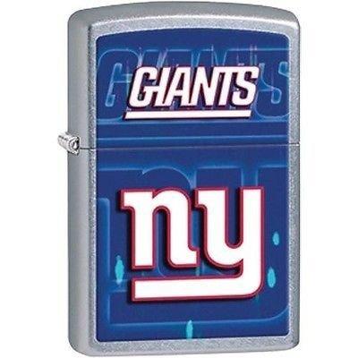 New York Giants Zippo Lighter - Personalized New York Giants Brushed Chrome Zippo Lighter - Free Engraving