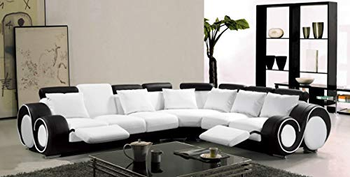 Esofastore Modern Classic Contemporary White and Black Bonded Leather Sectional Sofa Set Reclining Loveseat Sofa Corner Living Room ()