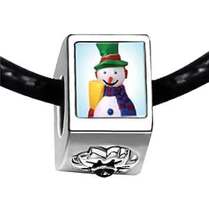 Chicforest Silver Plated Plastic Snowman Photo Black Crystal Flower Charm Beads Fits Pandora Charm Bracelet