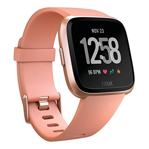 Fitbit Versa Smartwatch with Small & Large Bands - Peach/Rose Gold Aluminum