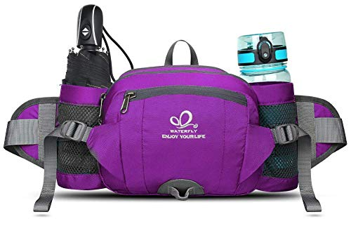 WATERFLY Fanny Pack with Water Bottle Holder Unisex Hiking Waist Packs for Walking Running Lumbar Pack fit for iPhone iPod Samsung Phones -