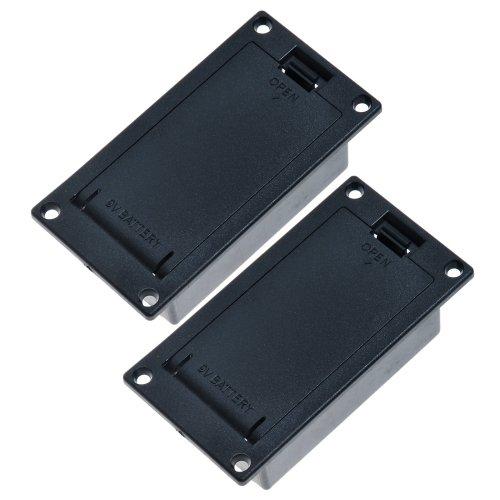 2 ABS Schwarz 9V Flach Batteriehalter Batteriebox für Aktiv Gitarre Bass Pickup ohne Terminal (Unsere Laden unterstützt Kombinierte Transportkosten/ Combined Shipping)