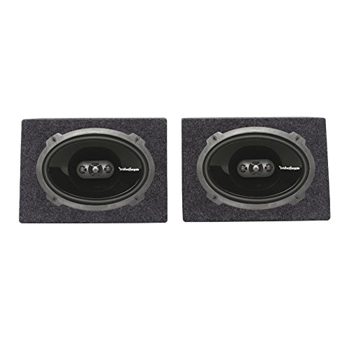 """Package: Pair of Rockford Fosgate P1694 6x9"""" Punch Series 4-Way Speakers Totaling 300 Watt + Rockville RS6X9PR (2) Single 6"""" x 9"""" Wedge Speaker/Subwoofer Enclosures"""