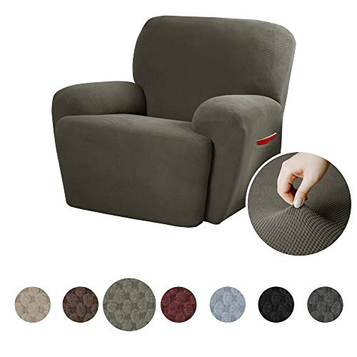 (MAYTEX Pixel Ultra Soft Stretch 4 Piece Recliner Arm Chair Furniture Cover Slipcover with Side Pocket, Dusty Olive)