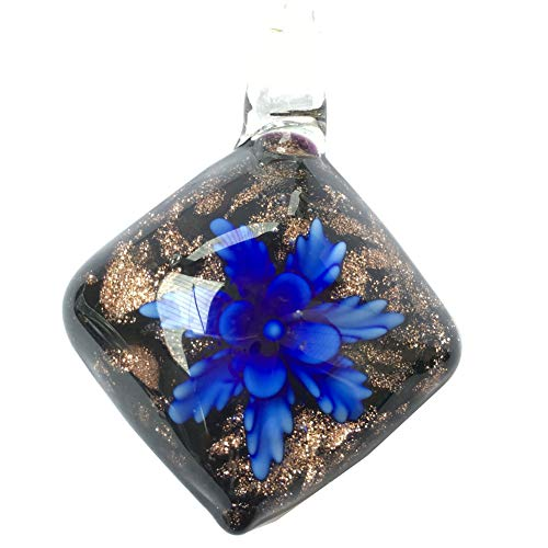 Jewelry58718 Fashion Lampwork Glass Flower Pendant Bead (Blue C7357)