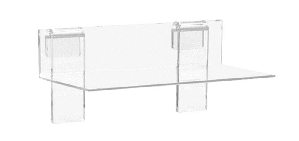 KC Store Fixtures A02110 Acrylic Grid Shelf, 9'' W x 4'' D x 1/8'', Clear (Pack of 5)