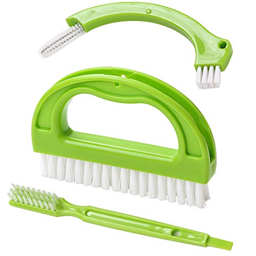 Living&Giving Grout Brush, (3 in 1) Grout Cleaner Brush, Tile Joint Scrub Brush With Handle, Stiff Cleaning Brush for All of the Household Such as Shower,Bathroom, Kitch, Seams, Floor Lines (Best Grout Cleaner For Shower)