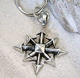 Blazers Jewelry 1985 - Gothic Chaos Star Silver Pewter Keychain Keyring Kaos
