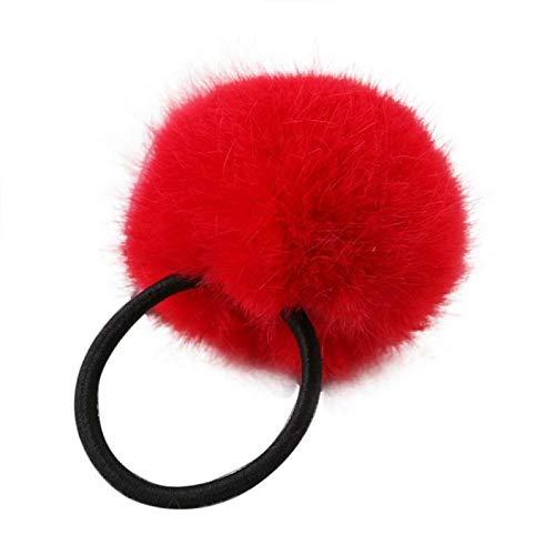 - Hot Women Rabbit Fur Elastic Hair Band Ties Rope Ring Hairband Ponytail Holder (Main Colour - Red)