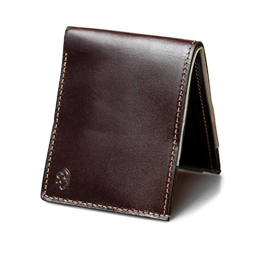 Bifold Leather Wallet For Men | Made in USA | Mens Bifold Wallets | American Made | Whiskey Barrel Brown | Main Street Forge