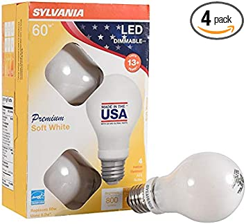 4 Pack A19 LED Light Bulbs Made in the USA with US and Global Parts Daylight Color 5000K SYLVANIA 60 Watt Equivalent Dimmable