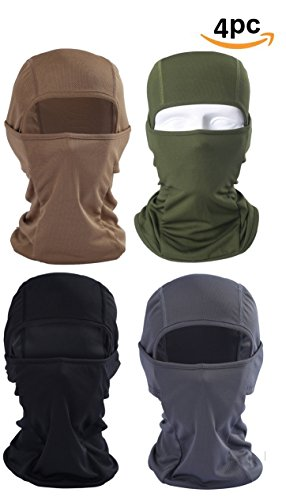Headwear Apparel Men (Suri Store Balaclava Windproof 4 Pack Ski Masks Motorcycle Neck Breathable Tactical Hood Travelling Outdoor Sports)