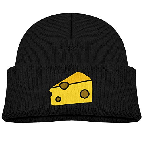Kids Knitted Beanies Hat Cheese Winter Hat Knitted Skull Cap for Boys Girls Black -