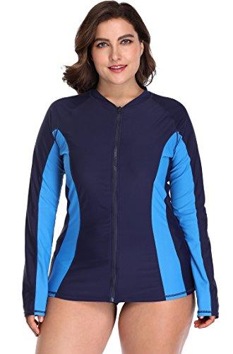 ATTRACO Ladies Long Sleeve UV Sun Protect Rashguard Surfing Swim Shirt Navy 3X (Guard Womans Rash Size Plus)