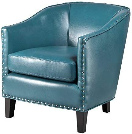 Christopher Knight Home Greta Mid Century Modern Fabric Club Chair, Blue, Dark Walnut