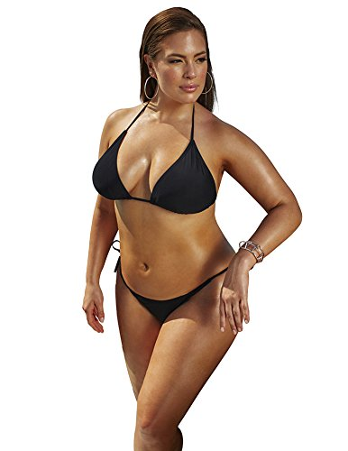 Ashley Graham X Swimsuitsforall Womens Espionage Bikini 14 Black