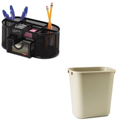 KITRCP295500BGROL1746466 - Value Kit - Rubbermaid-Beige Soft Molded Plastic Wastebasket, 13 5/8 Quart (RCP295500BG) and Rolodex Mesh Pencil Cup Organizer (ROL1746466)