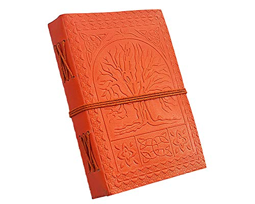 Etroves Tree Of Life Orange leather journals for men & women- 7x5 Inch leather writing journal-handmade leather journal-embossed leather journal-antique journal-Travel Diary & Notebooks to Write in ()