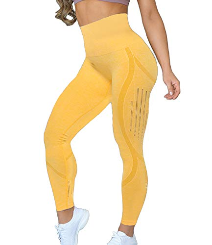 KIWI RATA Women's High Waist Active Seamless Compression Fitness Leggings Running Workout Slim Butt Lift Yoga Pants (#2 Yellow, Large)