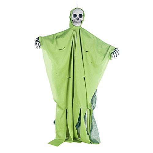 Lovhop 80x50cm Halloween Hanging Ghost with Distressed Hooded Robe Realistic Skulll Face Haunted House Horror DIY Decorations ()