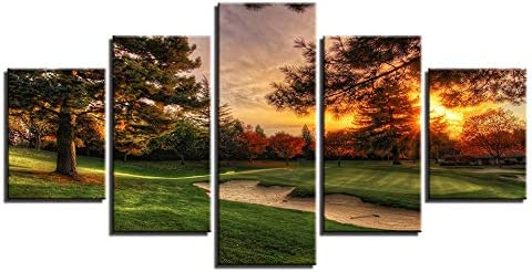 Karen Max Modular Pictures Wall Art Canvas Painting Prints 5 Pieces Golf Course Trees Sunset Landscape Poster Room Home Decor Frame Size 3:16x24inchx2,16x32inchx2,16x40inchx1 Frame