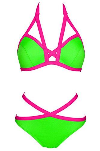 BUSL correas de nylon material de color del encanto del traje de baño del bikini chica c