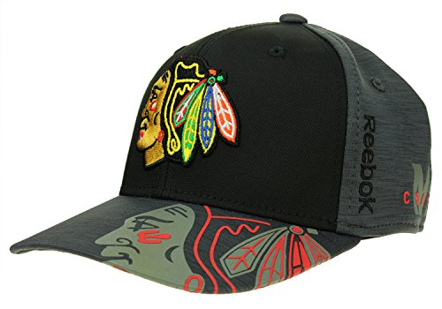 Reebok NHL Men's Chicago Blackhawks Playoff Structured No Patch Flex Hat, Grey, L/XL