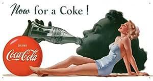 Coca-Cola Cartel metálico retro Now for a Coke! 42x21cm Producto oficial