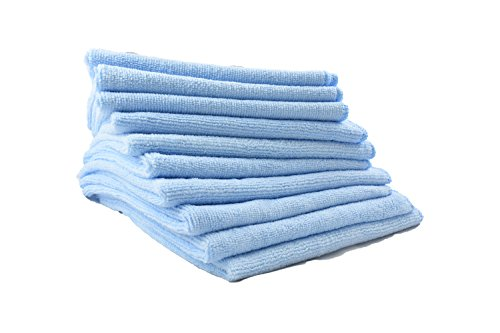 "Premium Microfiber Towels For Car, Bath Or Kitchen (10 Pack) By Slush HD|Auto Detailing & General Cleaning Luxury Cloths|Perfect For Car Interior, Dishes, Furniture, Glass, Hands Or Face|15""x 15"" Blue"