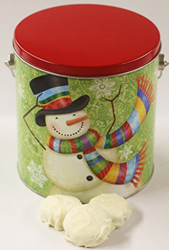 Scott's Cakes White Chocolate Covered Peanut Butter Oreos in a Scarf Snowman Pail