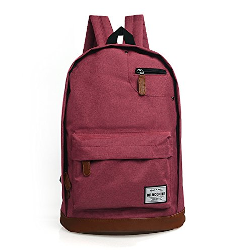 DRACONITE Classic Travel Laptop Backpacks School Bookbags (Wine Red)