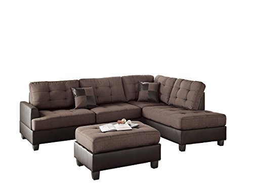 Fabric Ottoman Sectional - Poundex Bobkona Matthew Linen-Like Polyfabric Left or Right Hand Chaise SECTIONAL Set with Ottoman in Chocolate