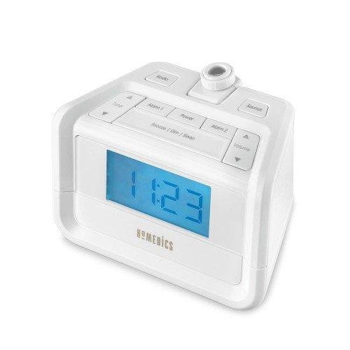 Dual Alarms Features 8 Peaceful Relaxation Sounds Automatic Time Set /& Automatic DST Adjustment HoMedics Soundspa Digital FM Clock Radio with Time Projection