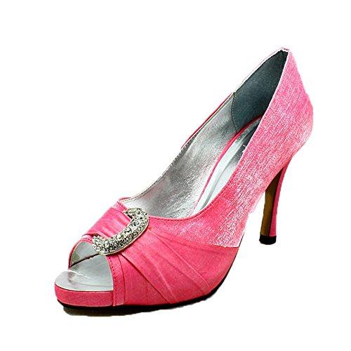 Señoras brillan zapatos de fiesta diamante media luna peep toe de tacón medio Pink