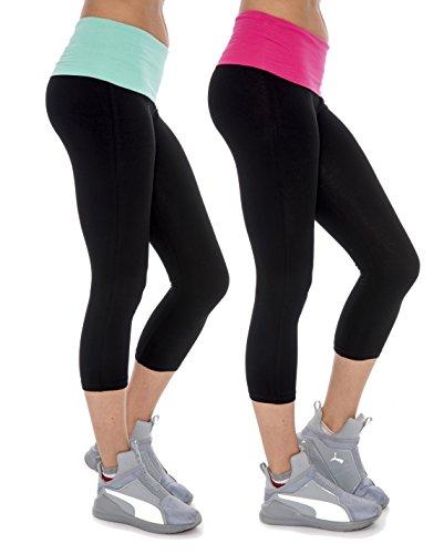 Women's Fold Over Colored Waistband Stretch Active Capri Leggings Cotton-Blend Workout Running Yoga Active Capri Pants Yoga Apparel