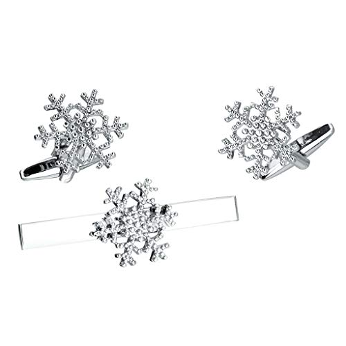(Unisex Silver Color Snowflake French Cufflink and Tie Clip Set with Gift Box)