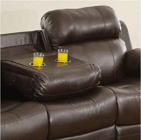TRIBECCA HOME Eland Bonded Leather Cupholder Recliner Sofa with Inner Spring Cushion in Rich Brown Finish