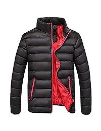 PLENTOP Men's Winter Leisure Zipper Pocket Down Jackets Stand Collar Coat Outwear
