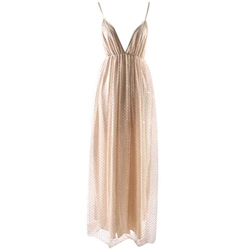 iLOOSKR Sexy Tulle Transparent Ladies Dress Sleeveless Hollow V-Neck Long Elegant Evening Dress Dress(Gold,S)