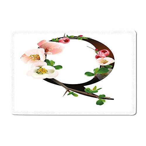 Letter Q Yoga mat Q Letter Surrounded with Pinkish Quince Flowers and Buds Abstract Spring Inspired Kitchen mat Multicolor 16