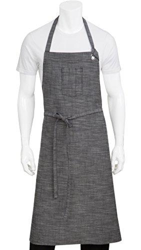 Chef Works Unisex Corvallis Chefs Bib Apron, Black/Steel Gray, One Size