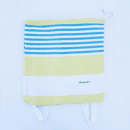 Birchwood Turkish Beach Towel/Bag, Yellow/Aqua by Birchwood (Image #3)