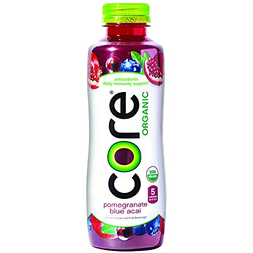 Fruit Flavored Beverage - CORE Organic, Pomegranate Blue Acai, 18 Fl Oz (Pack of 12), Fruit Infused Beverage, Vegan/Gluten-Free, Non-GMO, Refreshing Flavored Water with Antioxidants, Great For Immunity Support