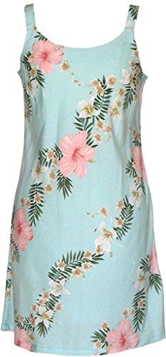 RJC Women's Sunrise Lei Short Hawaiian Bias Cut Slip Dress Aqua - Slip Bias