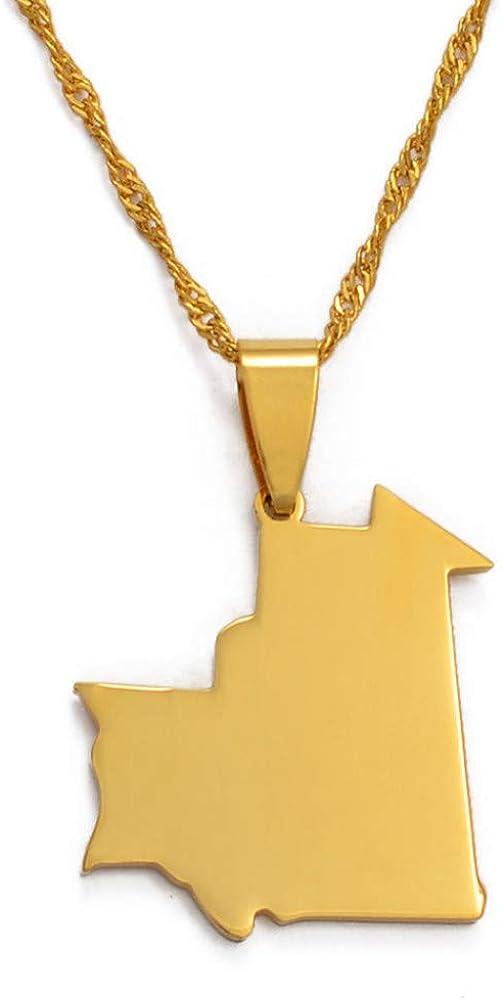 Mauritania Mapa Colgante Collar para Mujeres/Hombres, Oro Color Mauritanian joyería mapas Regalos
